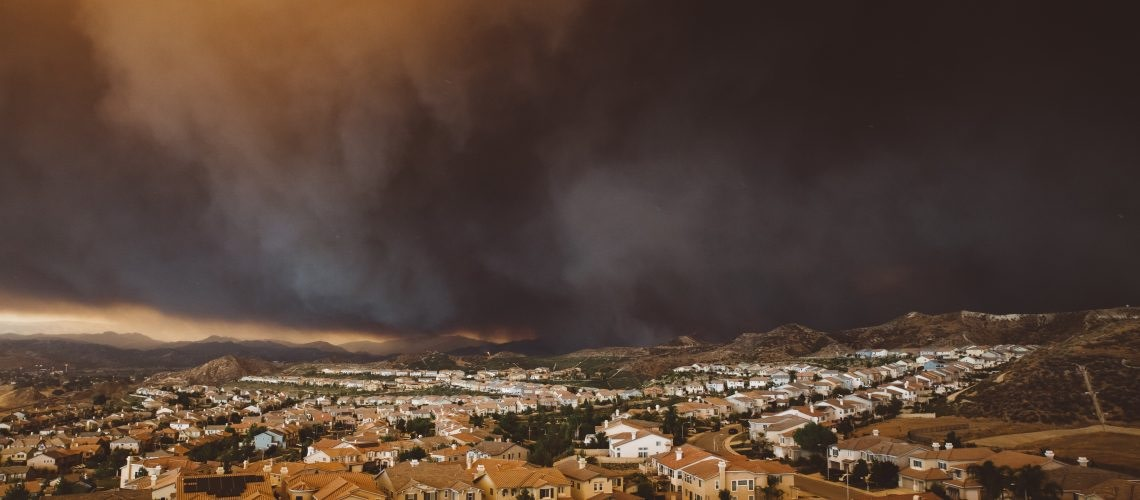 Depiction showing California wildfire. EHS Analytical Solutions performs Fire and Smoke Assessment to determine contaminants of concern and prepares remediation protocols